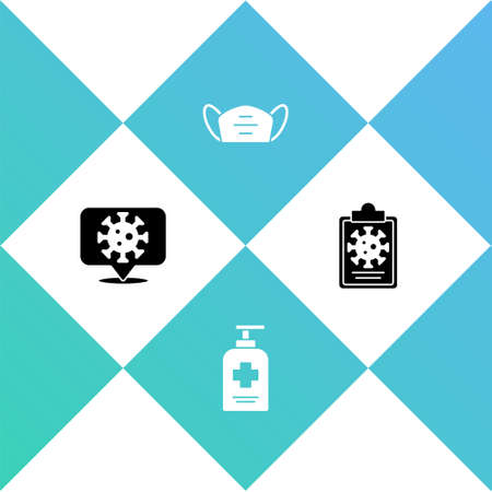Set Corona virus on location, Liquid antibacterial soap, Medical protective mask and Clipboard with blood test results icon. Vector