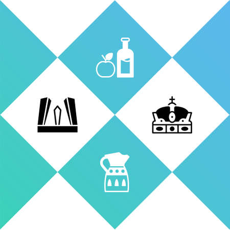 Set Gate of Europe, Sangria pitcher, Apple cider bottle and Crown spain icon. Vector