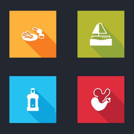 Set Churros and chocolate, Yacht sailboat, Orujo and Spanish wineskin icon. Vector