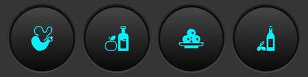 Set Spanish wineskin, Apple cider bottle, Olives on plate and Bottle of olive oil icon. Vector  イラスト・ベクター素材