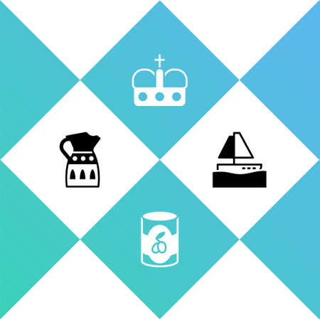 Set Sangria pitcher, Olives in can, Crown of spain and Yacht sailboat icon. Vector
