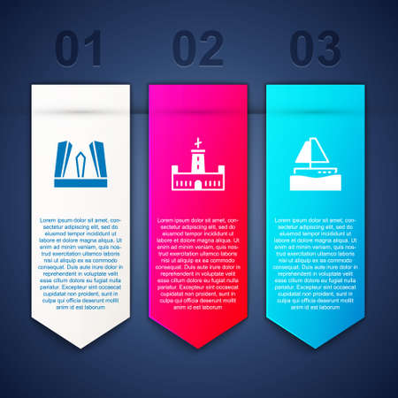 Set Gate of Europe, Montjuic castle and Yacht sailboat. Business infographic template. Vector