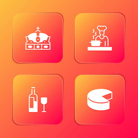 Set Crown of spain, Spanish cook, Wine bottle with glass and Cheese icon. Vector