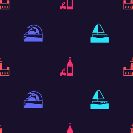 Set Yacht sailboat, Concert hall de Tenerife, Bottle of olive oil and Montjuic castle on seamless pattern. Vector