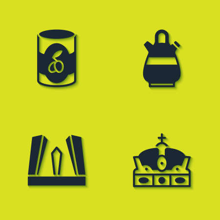 Set Olives in can, Crown of spain, Gate Europe and Sangria pitcher icon. Vector Çizim