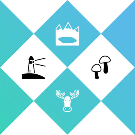 Set Lighthouse, Moose head with horns, Canadian lake and Mushroom icon. Vector