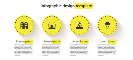 Set House, Montreal Biosphere, Indian teepee or wigwam and Cloud with snow. Business infographic template. Vector