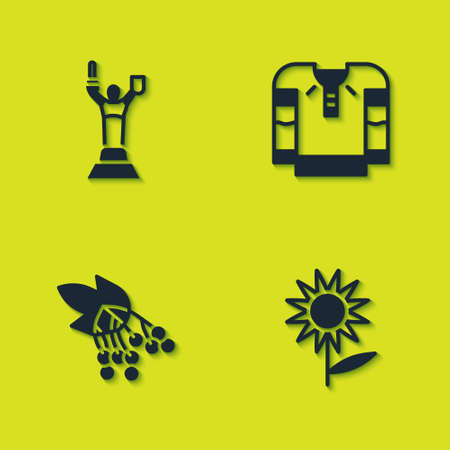 Set Mother Motherland monument, Sunflower, Branch viburnum and Embroidered shirt icon. Vector