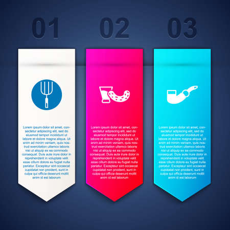 Set Garden pitchfork, Glass with vodka and Smoking pipe. Business infographic template. Vector