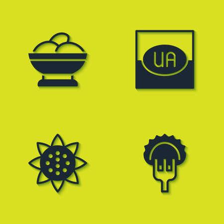 Set Varenyky in a bowl, Dumplings on fork, Sunflower and Flag of Ukraine icon. Vector