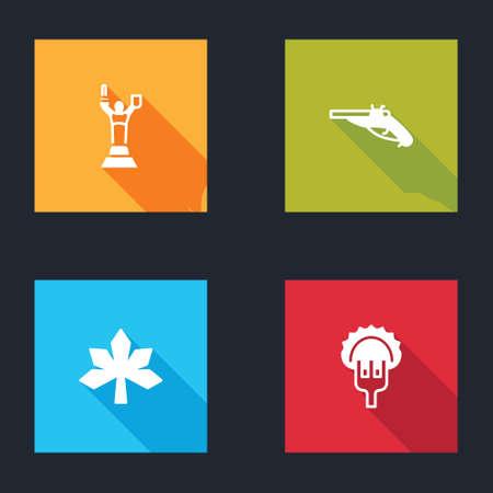Set Mother Motherland monument, Vintage pistols, Chestnut leaf and Dumplings fork icon. Vector