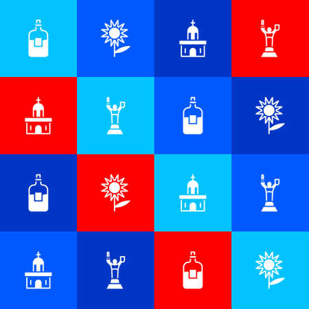 Set Bottle of vodka, Sunflower, Church building and Mother Motherland monument icon. Vector