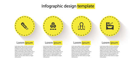Set Stationery knife, RGB color mixing, Binder clip and Copy machine. Business infographic template. Vector