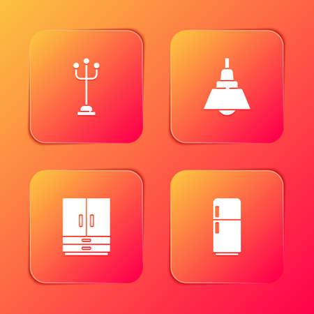 Set Coat stand, Chandelier, Wardrobe and Refrigerator icon. Vector