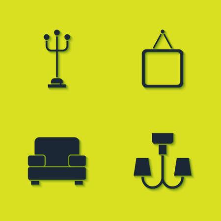 Set Coat stand, Chandelier, Armchair and Mirror icon. Vector 일러스트