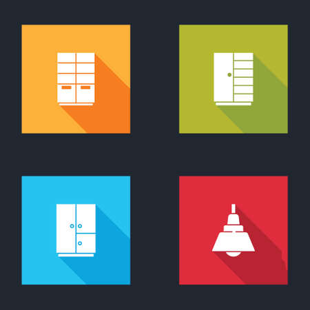 Set Wardrobe, , and Chandelier icon isolated. Vector