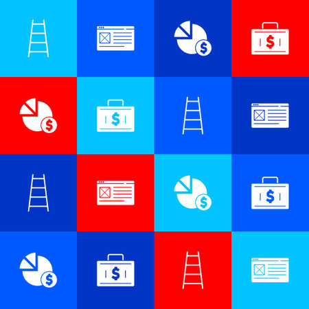 Set Stair with finish flag, Browser window, Pie chart and dollar and Briefcase money icon. Vector