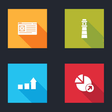 Set Browser window, Lighthouse, Financial growth and icon. Vector