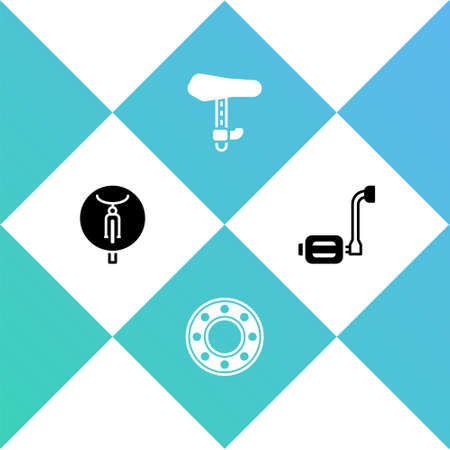 Set Bicycle, ball bearing, seat and pedal icon. Vector