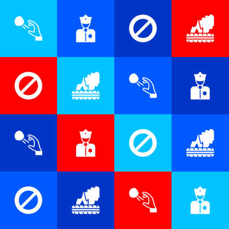 Set Hooligan shooting stones, Police officer, Ban and Lying burning tires icon. Vector