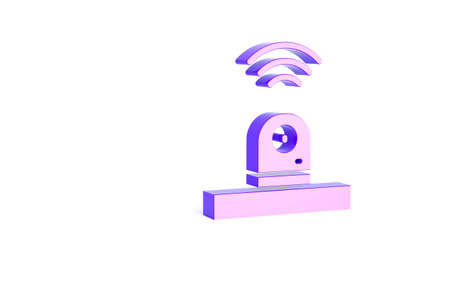 Purple Smart security camera icon isolated on white background. Internet of things concept with wireless connection. Minimalism concept. 3d illustration 3D render Imagens