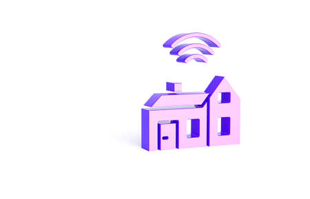 Purple Smart home with wireless icon isolated on white background. Remote control. Internet of things concept with wireless connection. Minimalism concept. 3d illustration 3D render