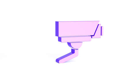 Purple Security camera icon isolated on white background. Minimalism concept. 3d illustration 3D render