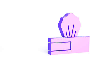 Purple Wet wipe pack icon isolated on white background. Minimalism concept. 3d illustration 3D render
