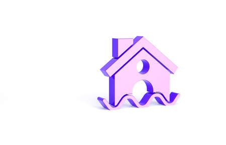 Purple House flood icon isolated on white background. Home flooding under water. Insurance concept. Security, safety, protection, protect concept. Minimalism concept. 3d illustration 3D render Stock Photo