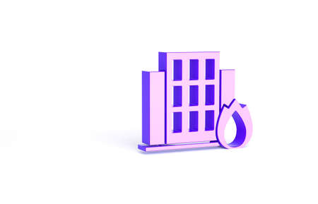 Purple Fire in burning house icon isolated on white background. Insurance concept. Security, safety, protection, protect concept. Minimalism concept. 3d illustration 3D render Stock Photo