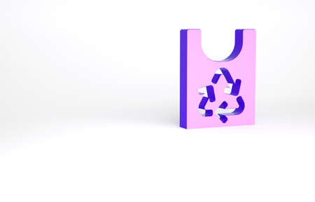 Purple Plastic bag with recycle icon isolated on white background. Bag with recycling symbol. Minimalism concept. 3d illustration 3D render