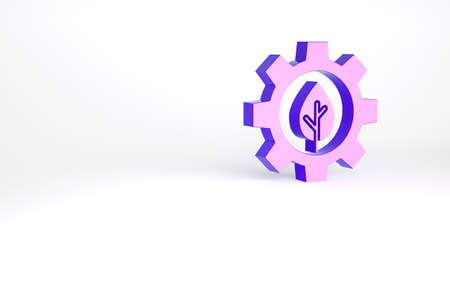 Purple Leaf plant ecology in gear machine icon isolated on white background. Eco friendly technology. World Environment day label. Minimalism concept. 3d illustration 3D render Archivio Fotografico