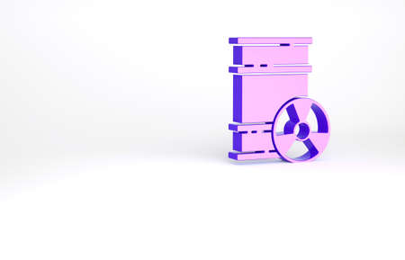 Purple Radioactive waste in barrel icon isolated on white background. Toxic refuse keg. Radioactive garbage emissions, environmental pollution. Minimalism concept. 3d illustration 3D render Archivio Fotografico