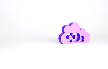Purple CO2 emissions in cloud icon isolated on white background. Carbon dioxide formula, smog pollution concept, environment concept. Minimalism concept. 3d illustration 3D render Archivio Fotografico