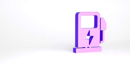 Purple Electric car charging station icon isolated on white background. Eco electric fuel pump sign. Minimalism concept. 3d illustration 3D render