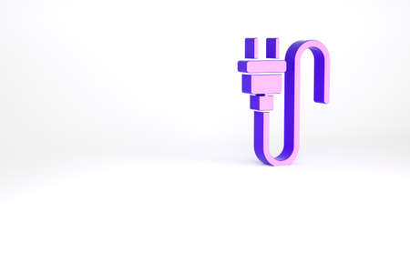 Purple Electric plug icon isolated on white background. Concept of connection and disconnection of the electricity. Minimalism concept. 3d illustration 3D render