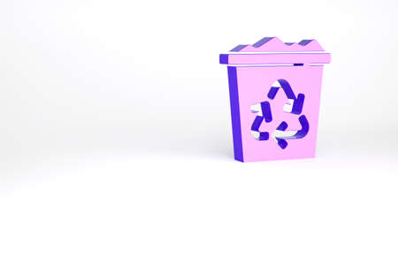 Purple Recycle bin with recycle symbol icon isolated on white background. Trash can icon. Garbage bin sign. Recycle basket sign. Minimalism concept. 3d illustration 3D render