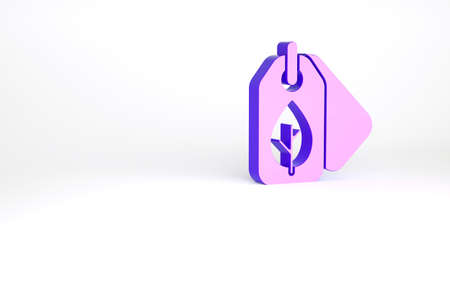 Purple Tag with leaf symbol icon isolated on white background. Banner, label, tag,   sticker for eco green. Minimalism concept. 3d illustration 3D render