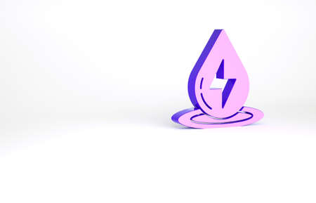 Purple Water energy icon isolated on white background. Ecology concept with water droplet. Alternative energy concept. Minimalism concept. 3d illustration 3D render