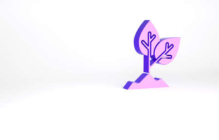 Purple Plant icon isolated on white background. Seed and seedling. Leaves sign. Leaf nature. Minimalism concept. 3d illustration 3D render