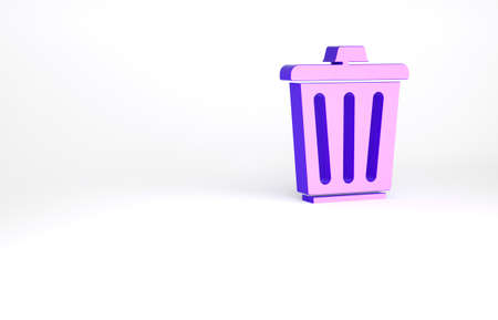 Purple Trash can icon isolated on white background. Garbage bin sign. Recycle basket icon. Office trash icon. Minimalism concept. 3d illustration 3D render