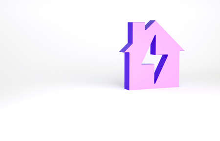 Purple House and lightning icon isolated on white background. Home energy. Minimalism concept. 3d illustration 3D render