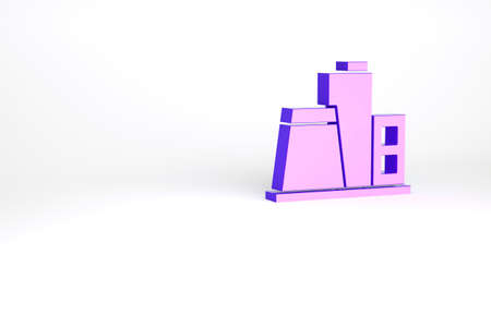Purple Factory icon isolated on white background. Industrial building. Minimalism concept. 3d illustration 3D render