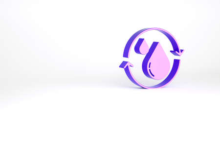 Purple Recycle clean aqua icon isolated on white background. Drop of water with sign recycling. Minimalism concept. 3d illustration 3D render