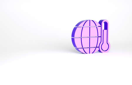 Purple Planet earth melting to global warming icon isolated on white background. Ecological problems and solutions - thermometer. Minimalism concept. 3d illustration 3D render Archivio Fotografico