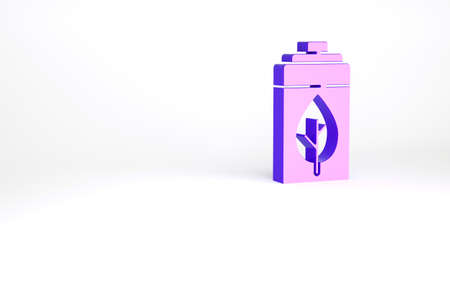 Purple Eco nature leaf and battery icon isolated on white background. Energy based on ecology saving concept. Minimalism concept. 3d illustration 3D render