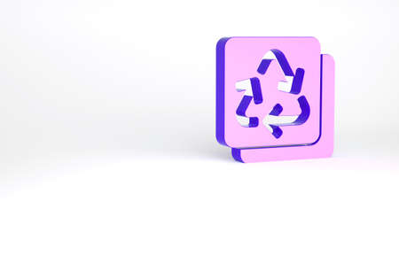 Purple Recycle symbol icon isolated on white background. Circular arrow icon. Environment recyclable go green. Minimalism concept. 3d illustration 3D render