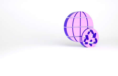 Purple Planet earth and a recycling icon isolated on white background. Environmental concept. Minimalism concept. 3d illustration 3D render Archivio Fotografico
