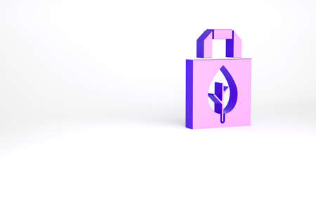 Purple Paper shopping bag with recycle icon isolated on white background. Bag with recycling symbol. Minimalism concept. 3d illustration 3D render