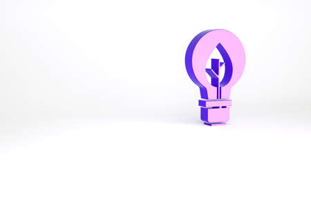 Purple Light bulb with leaf icon isolated on white background. Eco energy concept. Alternative energy concept. Minimalism concept. 3d illustration 3D render